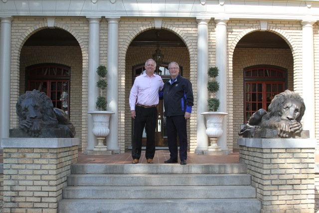 Siebold and Rich Thawley on the Front Steps of the Bona Allen Mansion