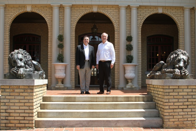 Siebold and Tom Mathews on the Front Steps of the Bona Allen Mansion